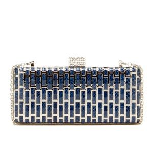 NWT La Regale Snakeskin Metal Hard Clutch Navy